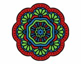 Coloring page modernist mosaic mandala painted bytrilby