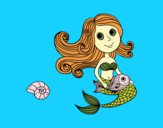 Coloring page Mermaid and her fish painted bySydney