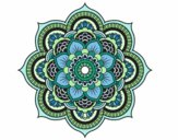 Coloring page Mandala oriental flower painted bylilarn97