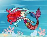 Mermaid is floating