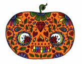 Coloring page Day of the dead Pumpkin  painted bykddowning
