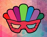 Coloring page Mask with plumes painted byleslie