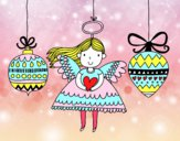 Coloring page Angel and Christmas ornaments painted bybianca