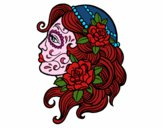 Coloring page Catrina tattoo painted bydarkmoon