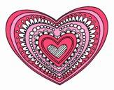 Coloring page Heart mandala painted byLilwenn