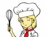 Coloring page Girl-chef painted byLilypop