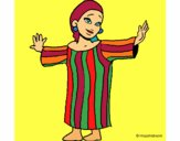 Coloring page Mayan girl painted bymindella