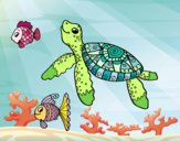 Coloring page Sea turtle with fish painted bysuzie