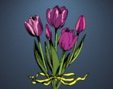 Coloring page Tulips with a bow painted bysuzie