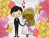 Coloring page Couple very in love painted byCharlotte