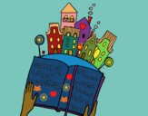 Coloring page A tale in the city painted byCharlotte
