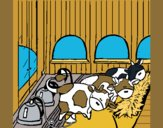 Coloring page Cows in the stable painted byKArenLee