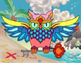 Coloring page Owl with key tattoo painted byponee59
