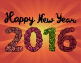 Coloring page Happy New Year 2016 painted byvaishu