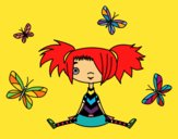 Coloring page Girl with butterflies painted bymindella