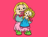 Coloring page Little girl with her doll painted bymindella