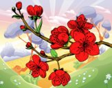 Coloring page Cherry-tree branch painted byDija