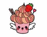 Coloring page Cupcake kawaii with strawberry painted byAzula