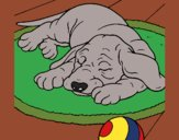 Coloring page Sleeping dog painted byKArenLee