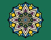 Coloring page Mandala simple symmetry  painted byalexuprise