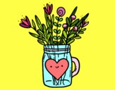 Coloring page Pot with wild flowers and a heart painted byGeorgi