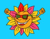 Coloring page The sun with sunglasses painted bymindella
