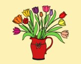 Coloring page Vase of tulips painted byGeorgi