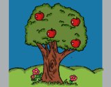 Coloring page Apple tree painted bylastflower