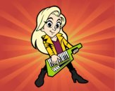 Coloring page Girl playing the keytar painted bybarbie_kil