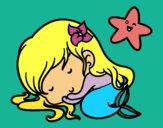Coloring page Little mermaid chibi sleeping painted bymindella