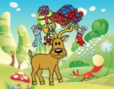 Coloring page Reindeer with Christmas gifts painted byLisavandy