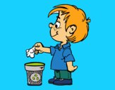 Coloring page Boy Recycling paper painted bymindella