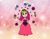 Coloring page Bride with flowers painted byGramanana4