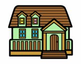 Coloring page American house painted byAnia