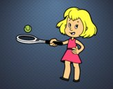 Coloring page Girl with racket painted byTaylor