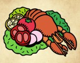 Coloring page Lobster with vegetables painted byJijicream