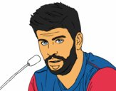 Coloring page Gerard Piqué in a press conference painted byKingAngel