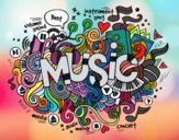 Coloring page Musical collage painted byGhada
