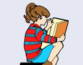 Coloring page Little girl reading painted byAnia