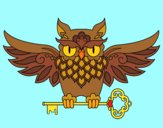 Coloring page Owl with key tattoo painted bywequix