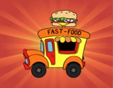 Coloring page Burger food truck painted byJijicream