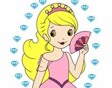 Coloring page Princess and Hand fan painted byNoor