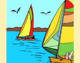 Coloring page Sails at high sea painted byAnia