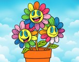 Coloring page Flower pot painted byALAN