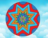 Coloring page Mandala star mosaic painted byALAN
