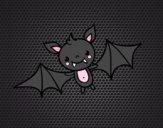 Coloring page A Halloween bat painted byYamena