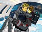 Coloring page Astronauts in love painted bySkmpyUncrn