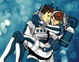 Coloring page Astronauts in love painted bygobishop