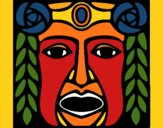 Coloring page Maya  Mask painted bygobishop