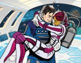 Coloring page Astronauts in love painted bycristina
